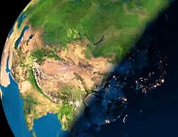 卫星拍摄到的中国
