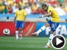 阿尔维斯30米重炮轰门偏出 世界杯葡萄牙VS巴西
