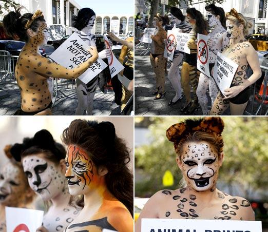 豹纹虎纹通上阵 裸体彩绘呼吁环保