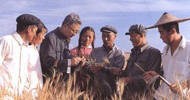 1974年,数学家华罗庚(左3)在农村推广优选法