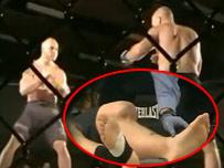 格斗悍将遭KO膝关节90度脱臼