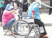 轮椅老太助阵