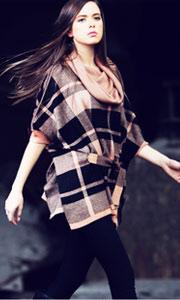 欧美风苏格兰针织衫