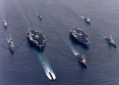 资料图:美国海军航母编队。