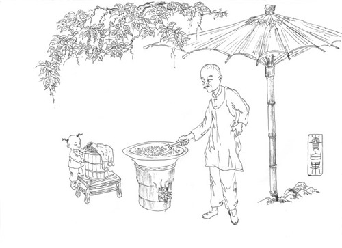 翡翠树叶设计手绘图稿