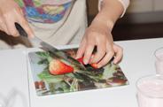 切草莓给慕斯造型
