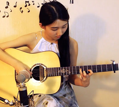 清新妹纸吉他炫技!指弹《太阳花》太好听