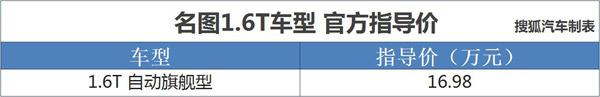 售16.98万元 北京现代名图1.6T车型上市