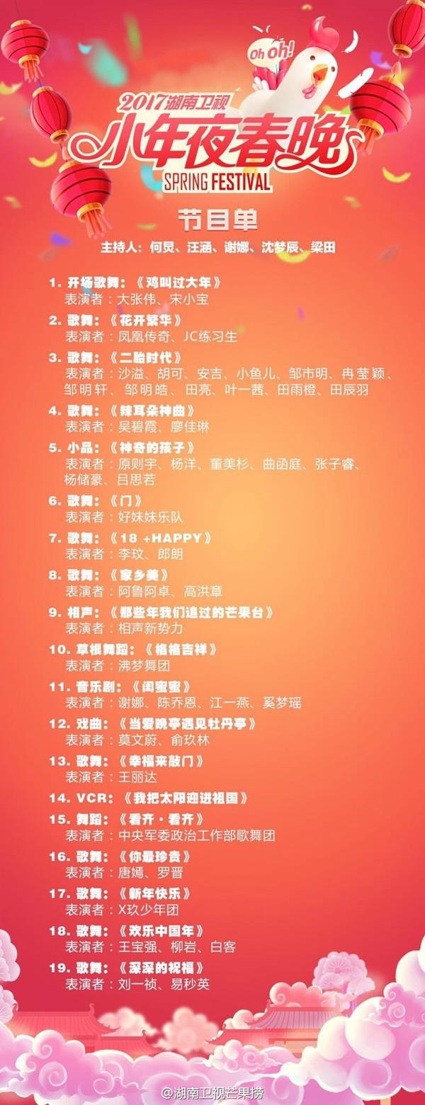 湖南卫视小年夜节目单曝光 沙溢家将表演 二胎时代>