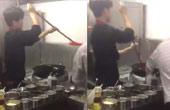 餐馆内男子扫帚涮锅再刷墙
