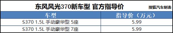 东风风光370新增车型上市 售5.99万元
